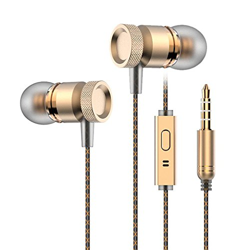 Medelec M15 Professional Wired In-ear Earphones Ear buds With In-line Microphone Mic Portable Carrying Case Headphones Headsets Golden