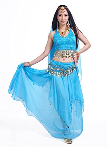 Dreamspell Beautiful Professional Belly Dnace Costume, Light Blue Dacing Set(5 pcs)