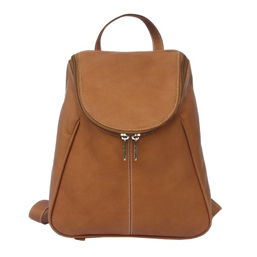 Piel Leather U-Zip Backpack, Saddle, One Size