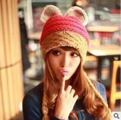 Autumn and winter new female devil horn knit cap Orecchiette ovo ball