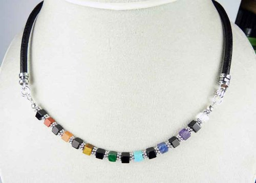 Damali Chakra Necklaces NSS6 - Sterling Silver Chakra Balancing Gemstone Beaded Necklace - MEDIUM 18 In.