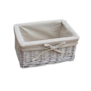 Small White Wicker Storage Basket Amazon Co Uk Kitchen