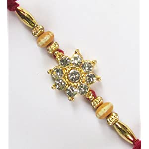 Floral Metallic Diamond Rakhi
