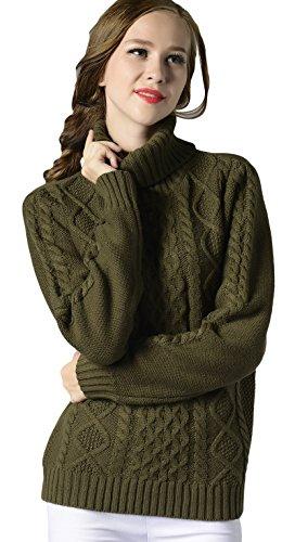 La Vogue-Maglioni da Donna Maglioni con Collo Alto Caldo Maglia Busto 94cm Verde
