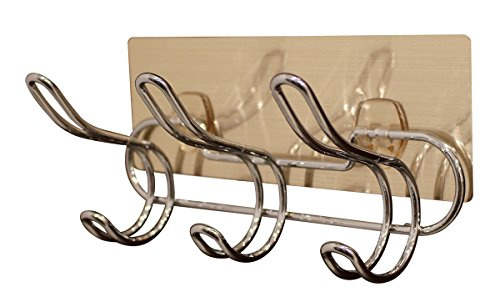 JustNile Removable Wall Adhesive Metal Wire Coat and Hat Hook Rail/Rack with 3 Scroll Hooks