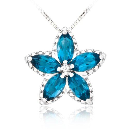 Sterling Silver London Blue Topaz and Diamond Flower Pendant Necklace, 18