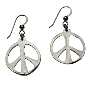 Small Peace Symbol Silver-dipped Earrings on French Hooks