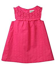 Beebay Infant-girl 100% Cotton Woven Pink Dobby Lace Dress (D0716132002933_Pink_18-24 Months)