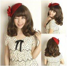 Women's Short Curly Wig (Model: Jf010190) (Dark Brown)