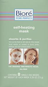 Biore Self-Heating Mask Absorbs & Purifies The Original One - Minute Facial Oil - Free Contains 8 masks