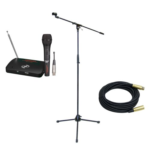 Pyle Mic And Stand Package - Pdwm100 Dual Function Wireless/Wired Microphone System - Pmks2 Tripod Microphone Stand W/Boom - Ppmcl30 30Ft. Symmetric Microphone Cable Xlr Female To Xlr Male