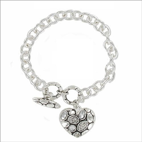 JOA Heart with Stone Charm Toggle Bracelet #040539
