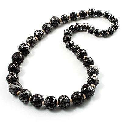 Animal Print Wooden Bead Necklace (Black & Metallic Silver)