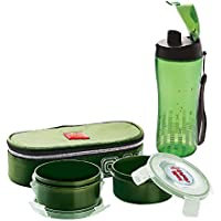Cello Squash Combo Lunch Box With Bag Set, 5-Pieces, Green