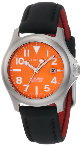 Momentum Women's 1M-SP01O12B Atlas Orange Dial Black Touch Leather Watch