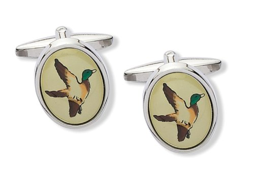 Code Red Base Metal Rhodium Plated with Green, Brown and Cream Screenprint Cufflinks