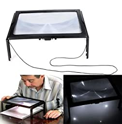 3X Giant Large Hands Free Magnifying Glass With Light LED Magnifier For Read BL