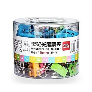 Deli Smiling Binder Clips ,3/4 Inch Wide ,1/4 Inch Capacity, Assorted Colors ,40 Clips Per Pack,small Size (Mixed Binder Clips compare prices)