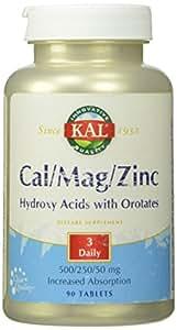 KAL Cal/Mag/Zinc Actisorb Tablets, 500/250/50 mg, 90 Count