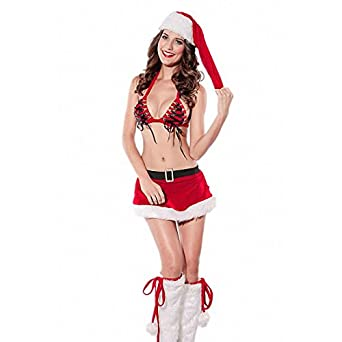 Short Dress 4Pcs Bra Hat Christmas Santa Stripper Skirt Set Red