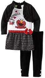 Sesame Street Little Girls' 2 Piece Elmo Lovable Huggable Legging Set