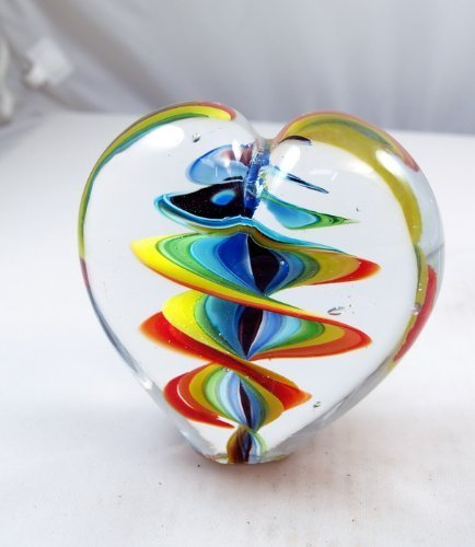 M Design Art Blown Glass Rainbow Millefiori Paperweight PP-0129