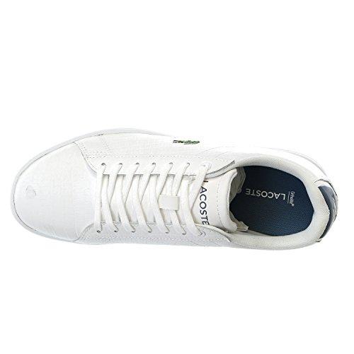 Lacoste Women's Carnaby Evo G316 8 Fashion Sneaker, White/Blue, 8.5 M US