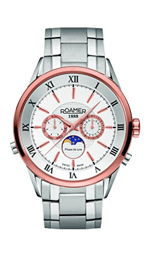 Roamer of Switzerland Superior Moonphase Men's Quartz Watch with White Dial Chronograph Display and Silver Stainless Steel Bracelet 508821 49 13 50