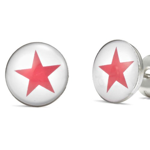 Unique Red Star Stainless Steel Men's Stud Earrings Red White