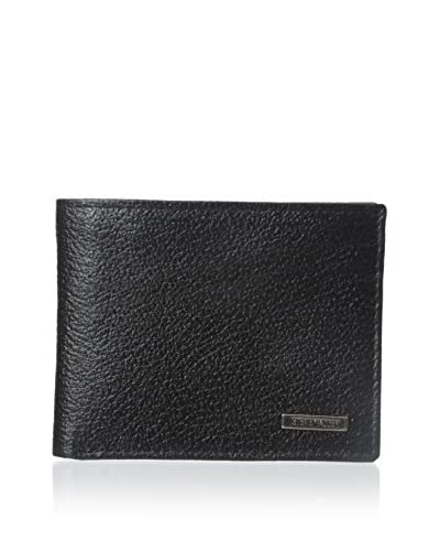 Steve Madden Men's Pebbled Passcase Wallet, Black, One Size