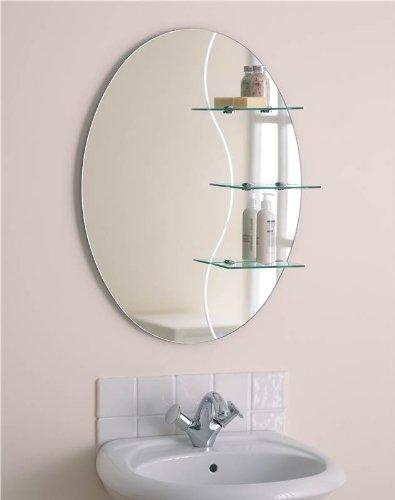 Kolat Bathroom Mirror with Chrome Shelf Brackets