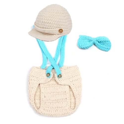 Topicker Newbaby Girls Boy Newborn 0-2 Year Knit Crochet Clothes Photo Prop Outfits (Cap)