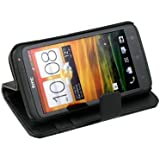 Black Book Type Flip Stand Leather Wallet Case Cover For HTC One X