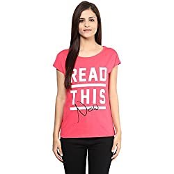 Candies by Pantaloons Women's Cotton T-Shirt (205000005542498_Candy Pink_XL)