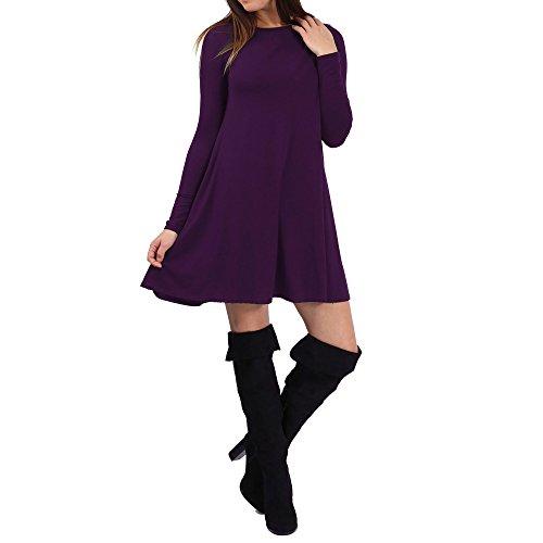 SCO Nuovo Donna Tinta Unita Swing da donna a campana Elasticizzato Top Tunica Plus Size Purple 42