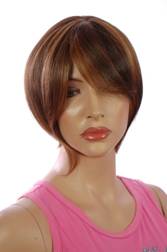 Short Stylish Asymmetric Light Brown Mix Bob hairstyle | Long Face Framing Layers | Styleable Realistic Fibre | Available in 3 Colours