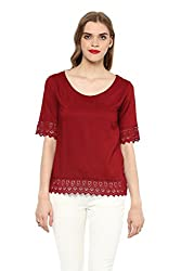 MARTINI Wine Rayon Lace Waist Length Top