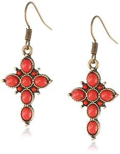 """NINE WEST VINTAGE AMERICA """"Found Objects"""" Brass Coral Cross Drop Earrings"""
