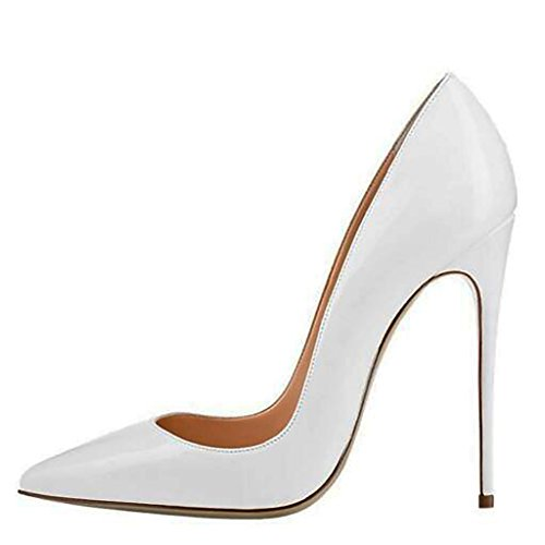 Mavirs Women's Cymn White Pointed Toe High Heel Pumps Slip on Party Dress Stiletto Shoes 12
