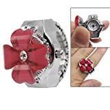 Red Clover Hunter Case Silver Tone Stretch Band Finger Ring Watch for Lady