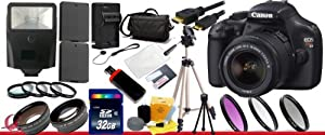 Canon EOS Rebel T3 (1100d) SLR Digital Camera w/ Canon 18-55mm Lens + 2 Extra Lens + Close Up Kit + 2 Batteries and charger + Hdmi Cable + 32GB SDHC Class 10 Memory Card + Soft Carrying Cases + Tripod & Much More!