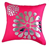 "That's Perfect! Pop! Flowers 18""x18"" Decorative Silk Throw Pillow Sham - COVER (Pink)"