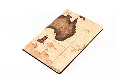 Apple Ipad Air 2 Case Borch Fashion Luxury Multi-Function Protective World Map Leather Light-Weight Folding Flip Smart Case Cover For For Ipad Air 2 (Map Brown)