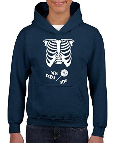 [Xekia Kids Hallowen Costume Skeleton with Candies Halloween Fashion Children Gifts Hoodie For Girls - Boys Youth Kids Medium Navy] (Hallowen Contact Lenses)