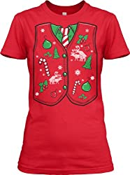 Women's Ugly Christmas Sweater Vest T Shirt funny Xmas shirt for women from Crazy Dog Tshirts