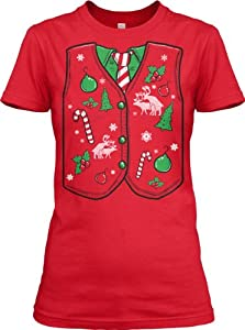 Women's Ugly Christmas Sweater Vest T Shirt funny Xmas shirt for women