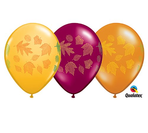 "11"" Autumn Leaves Assorted Latex Balloons - Package of 12"