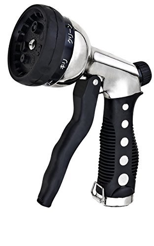 Heavy-Duty-Spray-Nozzle-for-Garden-Hose-Hand-Sprayer-High-Quality-Chrome-Metal-Watering-Gun-High-Pressure-7-Modes-Car-Water-Sprayer-Pistol-Grip-Front-Trigger-Flow-Control-Setting-Knob-Best-for-Washing