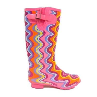 Ladies Pink Colourful Wave Wellies Wellingtons Rain Boots