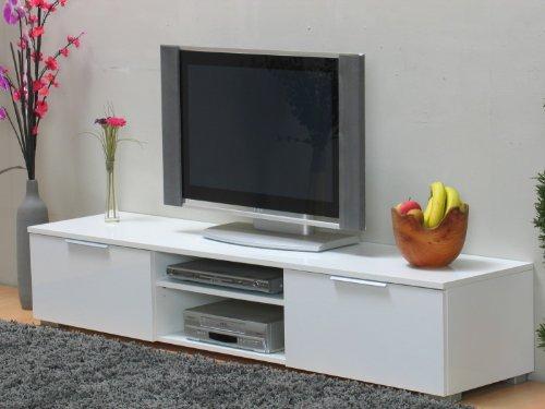 TV-Mbel-HIFI-Tisch-Fernsehtisch-Lowboard-Medienschrank-weiss-hochglanz-lackiert